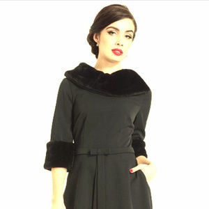 Retro Black Fit Flare Dress Faux Fur Collar Cuffs